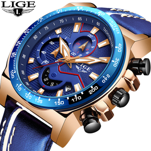 2019 New LIGE All Blue Waterproof Quartz Wrist Watch For Mens Watches Top Brand Luxury Male Fashion Business Clock Reloj Hombre|Quartz Watches|Watches -