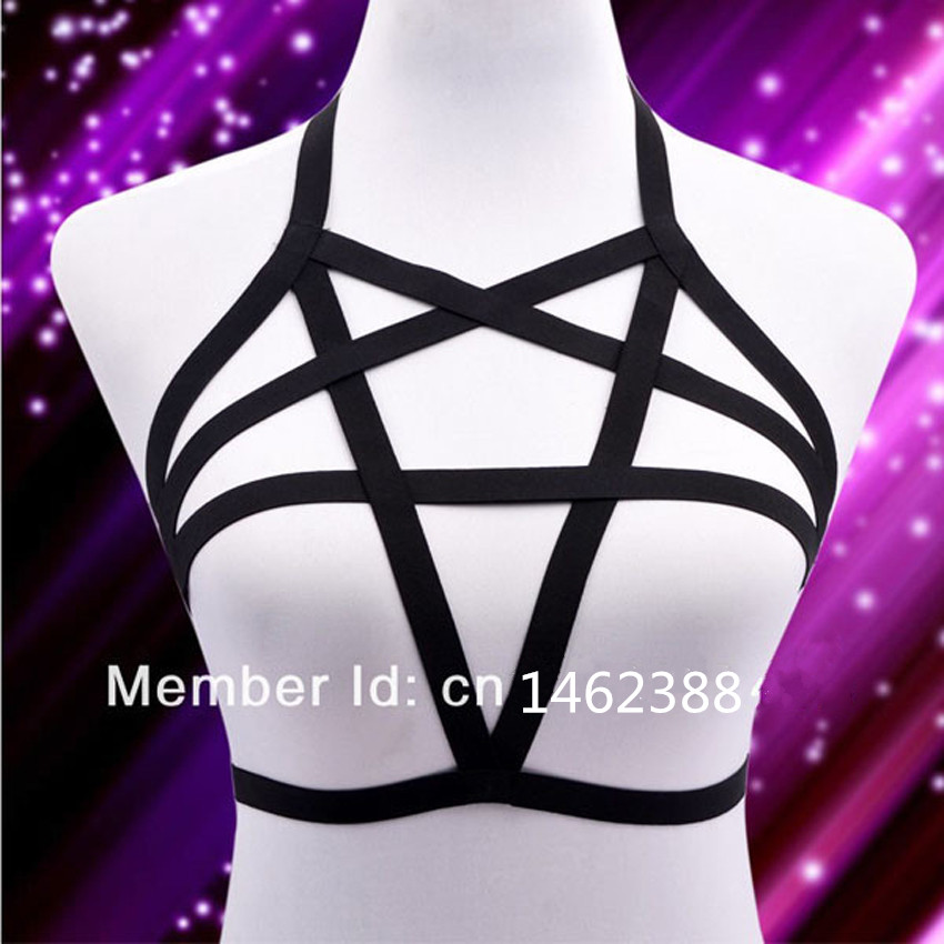 New Sexy Lingerie Elastis pentagram harness cage bra tubuh kandang fetish perbudakan Harness Belt 90-an Goth Body suit