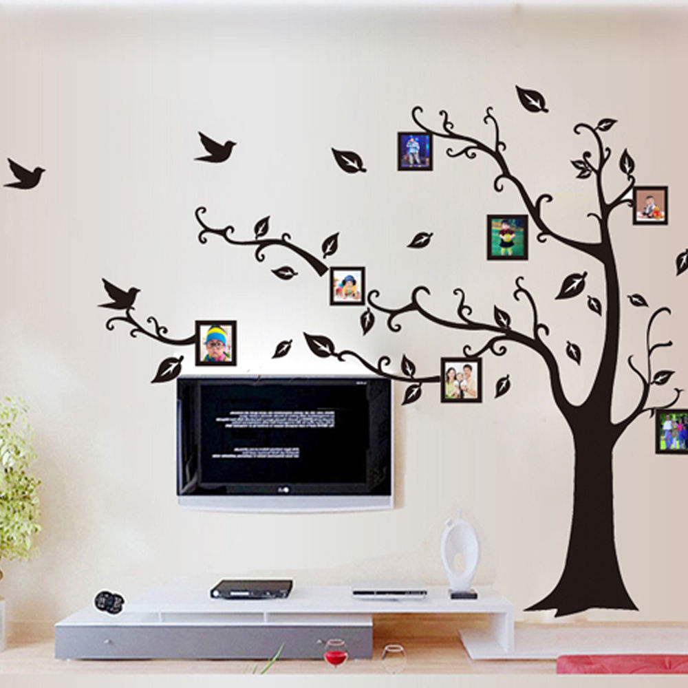 HITAM Gambar Bingkai Foto Pohon Wall Sticker Decal Dcor