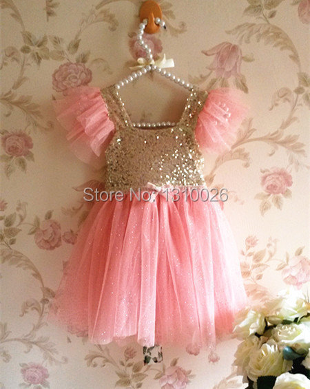 11e807e3e Blush Flower Girl Dress, Coral Pink and Gold sequin Dress,Baby Girl Party  Dress, Pink Sparkle Princess Dress