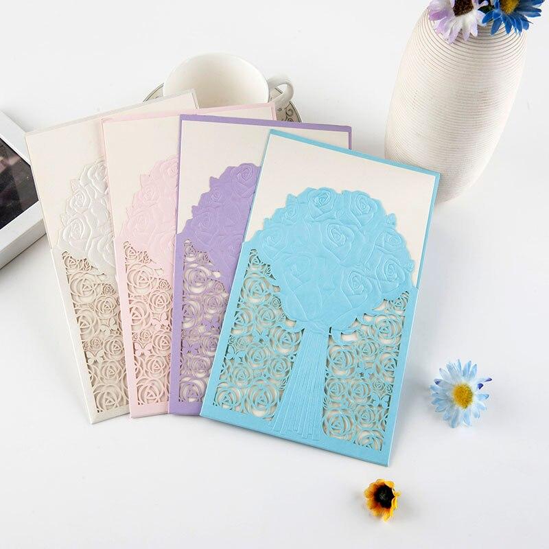 Price For Wedding Invitations: 50pcs/lot Cheap Price Laser Cut Wedding Cards Tree Design