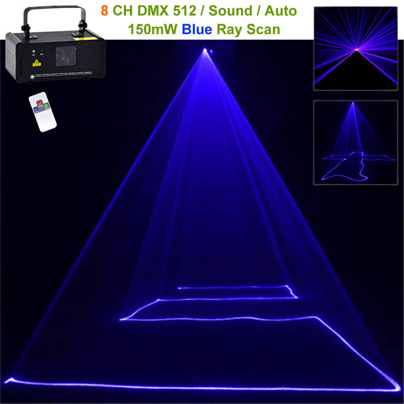Mini Portable 150mw Blue Beam Laser Scanner Effect 8 CH DMX Stage Lighting DJ Party Show Wireless Remote Projector Light B150 chauvet dj ch 31 portable trussing