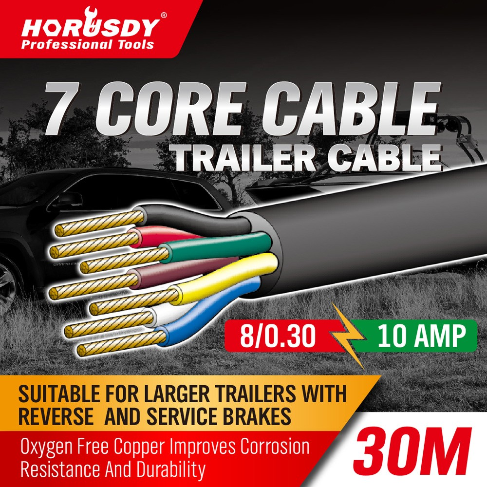 HORUSDY 7 Core Trailer Cable 2.5mm Train Wire Caravan Plug Socket ...