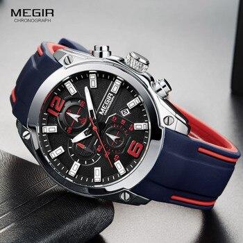 Мужские аналоговые кварцевые часы Megir с хронографом и датой, светящиеся стрелки, водонепроницаемые наручные часы для мужчины с силиконовым ...