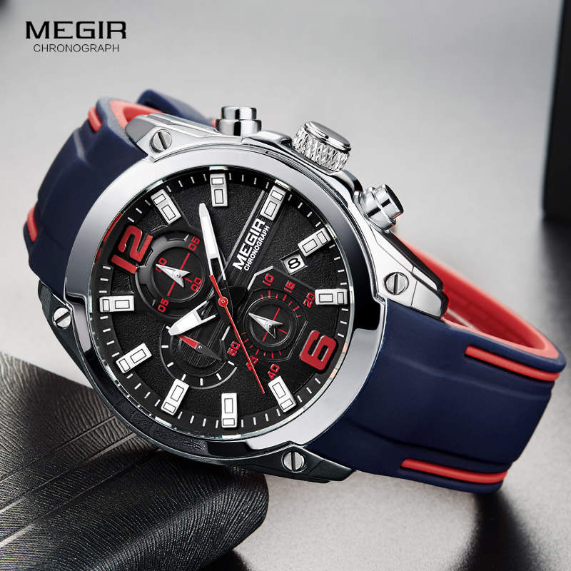Megir hombres cronógrafo reloj de cuarzo analógico con fecha, luminoso manos, silicona impermeable correa de caucho Wristswatch para el hombre