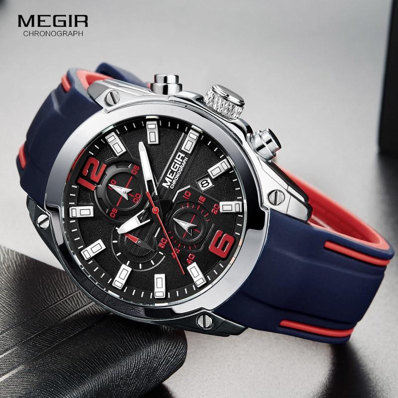 Megir męski chronograf kwarcowy analogowy zegarek z datownikiem, świetliste dłonie, wodoodporny pasek z gumy silikonowej Wristswatch dla człowieka w Zegarki kwarcowe od Zegarki na  Grupa 1