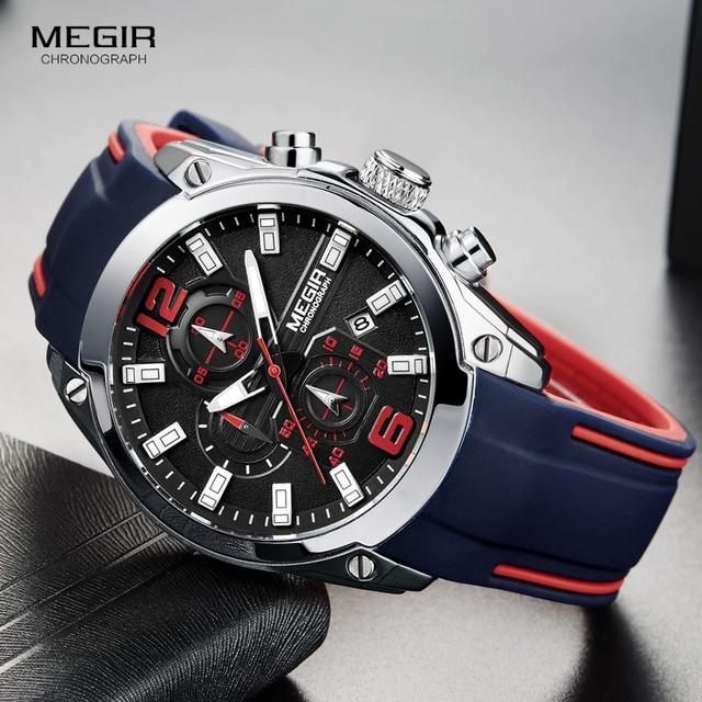 Megir Для мужчин хронограф аналоговые кварцевые часы с датой, светящиеся стрелки, Водонепроницаемый силиконовые каучуковый ремешок wristswatch для мужчин