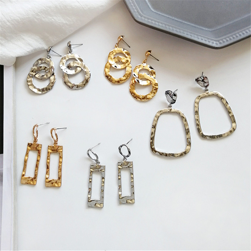 Fashion Metal Earrings  Geometric Retro Big Earrings Hollow Out Personality Irregular Delicate Earrings Jewelry Wholesale