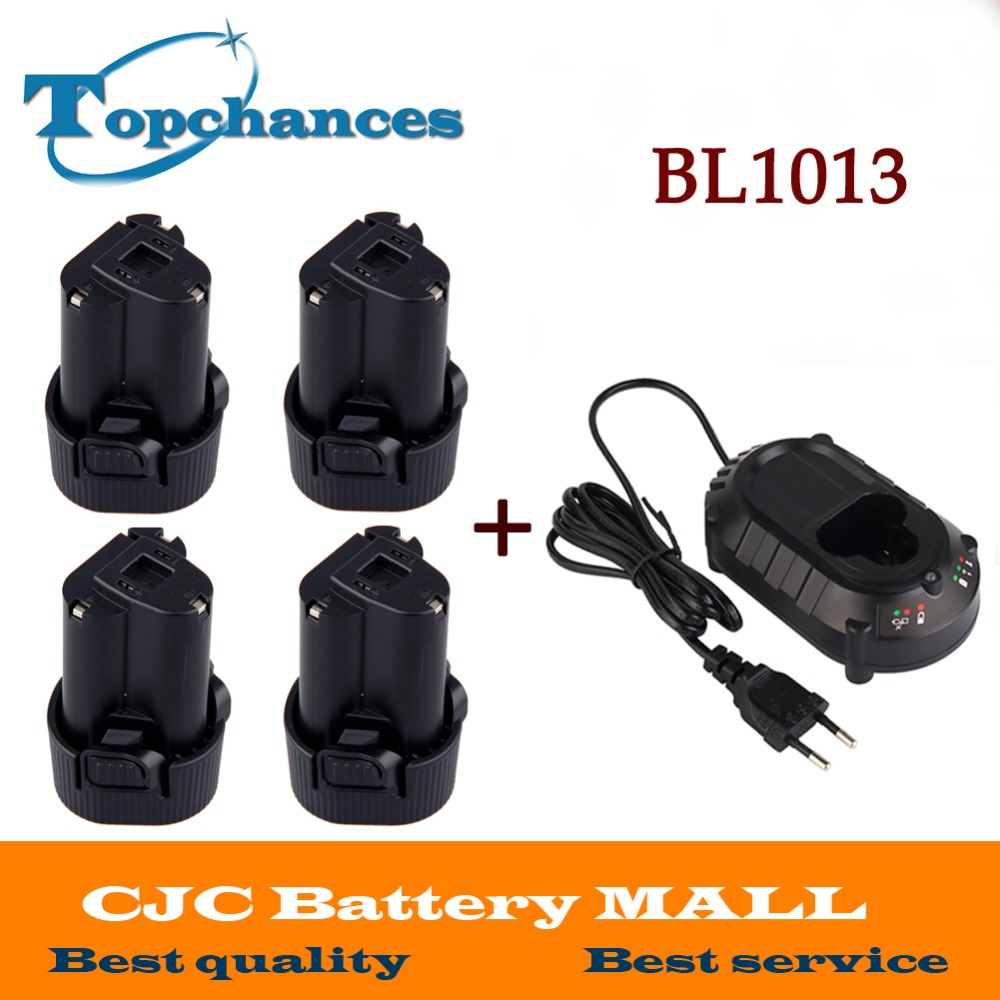 4X Battery for Makita 10.8V 10.8 Volt BL1013  BL1014 TD090D TD090DW LCT203W 194550-6 194551-4Li-ion Electric Power Tool+Charger high quality brand new 3000mah 18 volt li ion power tool battery for makita bl1830 bl1815 194230 4 lxt400 charger
