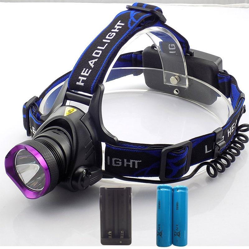 XM-L T6 Farol LEVOU Farol T6 CONDUZIU A lâmpada Cabeça 2000 Lm LED Head  Light Lanterna Tocha + Carregadores AC + Bateria para pesca bb2b335b79