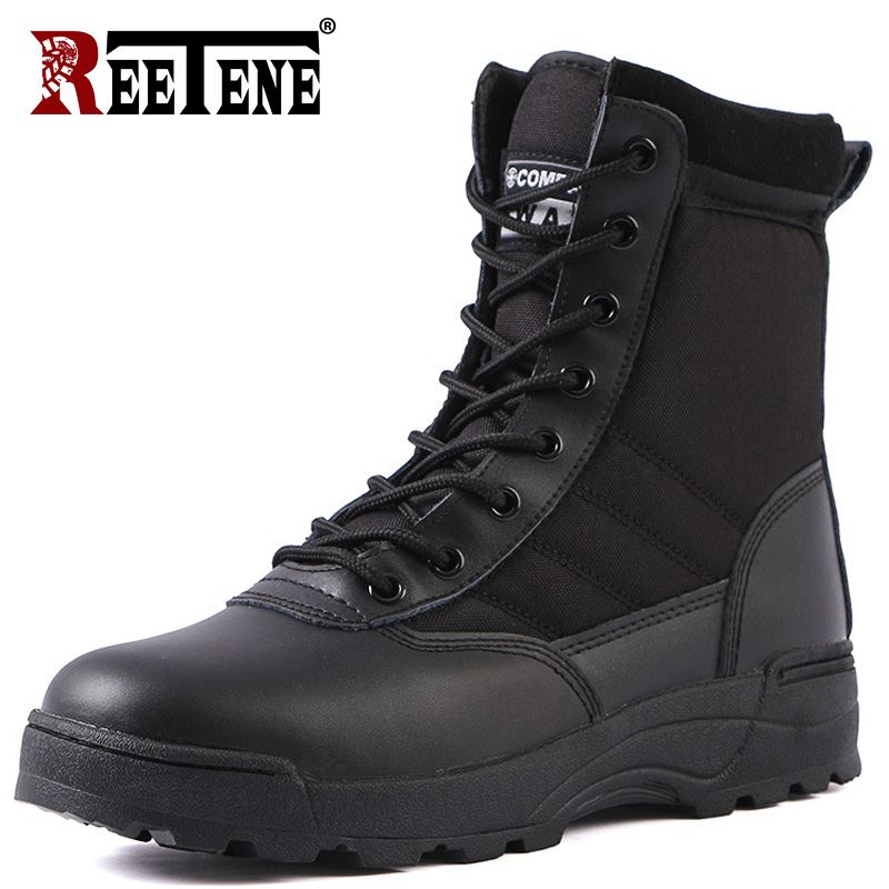 REETENE Men'S Military Boots Tactical Army Boots Mens Work Safty Shoes Special Force Tactical Desert Combat Men'S Boots