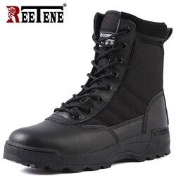 Reetene masculino botas militares do exército tático botas homens trabalho safty sapatos força especial tático combate deserto homens botas