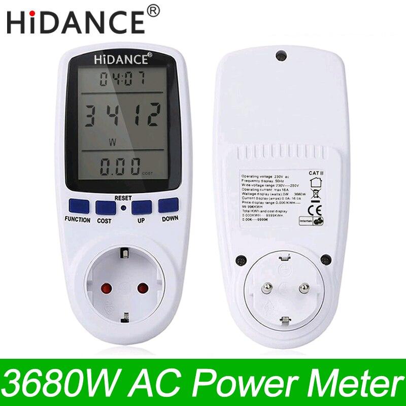 Medidor de potencia de CA HiDANCE 220 V digital wattmeter eu medidor de energía watt monitor de consumo de electricidad medidor de enchufe