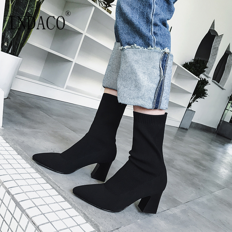 Women Boots Ladies Sock Boots Women 39 s Boots Autumn 6 5cm in Ankle Boots from Shoes