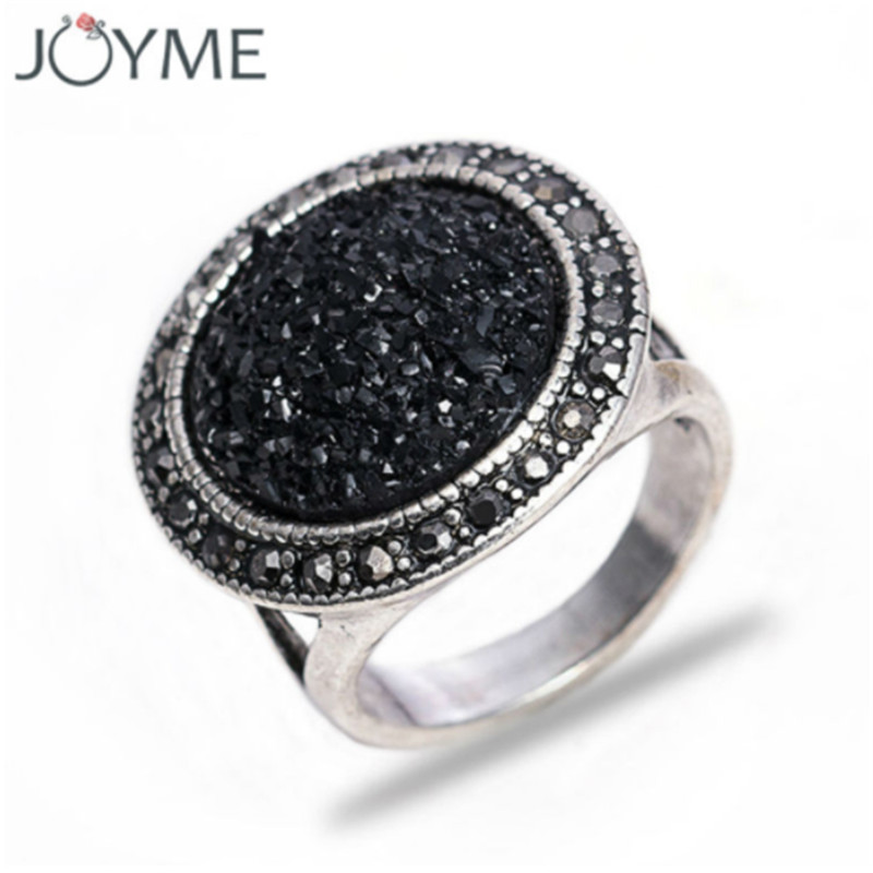 Vintage Charm Jewelry Black Broken Stone Accessories Statement Rings Antique Silver Rhinestones Resin Engagement Ring For Women