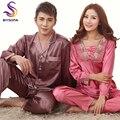 Otoño primavera Rosa Púrpura de Seda Amantes Pijamas Conjunto, Elegante Sexy V Cuello Pijamas Pareja de Recién casados Conjunto Bordado pijamas