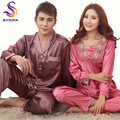 Spring Autumn Purple Pink Silk Lovers Pajamas Set,Elegant Sexy V Collar Newly-married Couple Pajamas Set Embroidered Pajamas