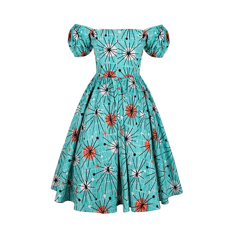 US $60.99 39% OFF|40 women vintage 50s blue kitsch atomic puff sleeve swing  dress plus size dresses rockabilly pinup vestidos jurken-in Dresses from ...