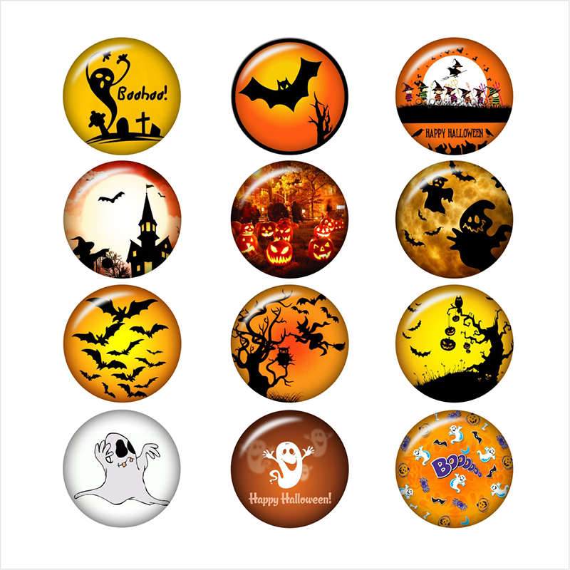 mixed Halloween BOO skull 12mm/18mm/20mm/25mm glass snap button Round photo glass cabochon demo flat back Making findings BP2022