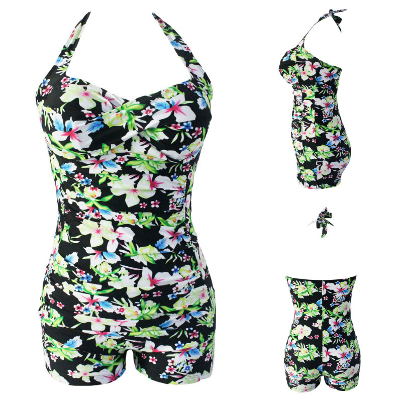 2016 New Plus Size Swimsuit Floral Print Black Vintage Halter Sheath One Piece Swimsuit Swimwear Women Monokini M~XXXL Swim Suit silver wings silver wings кольцо 21sr0953b 97