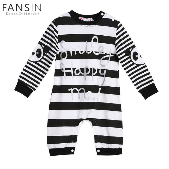 3389034baca Baby Boys Girl Rompers Clothes Autumn Newborn Baby Cartoon Cotton Long  Sleeve Letter Print Striped Romper Jumpsuit Clothing