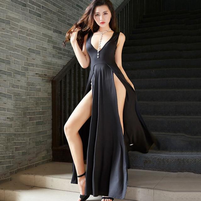 High waist dress Ladies plus size Sexy Long dresses 2019 Summer Hot Fashion  Irregular Open fork 0eb90b17e