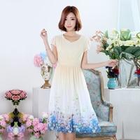 New Summer Spring Women dress Print Chiffon Long Big Pendulum Type 2017 Location Dresses Apricot 8029
