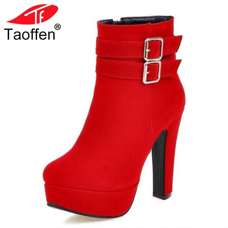 Tamanho 30-48 TAOFFEN Mulheres Dedo Do Pé Redondo Sapatos de Salto Alto Zipper Botas de Inverno Quente Da Mulher Praça Plataforma do Salto de Calçados zapatos Mujer