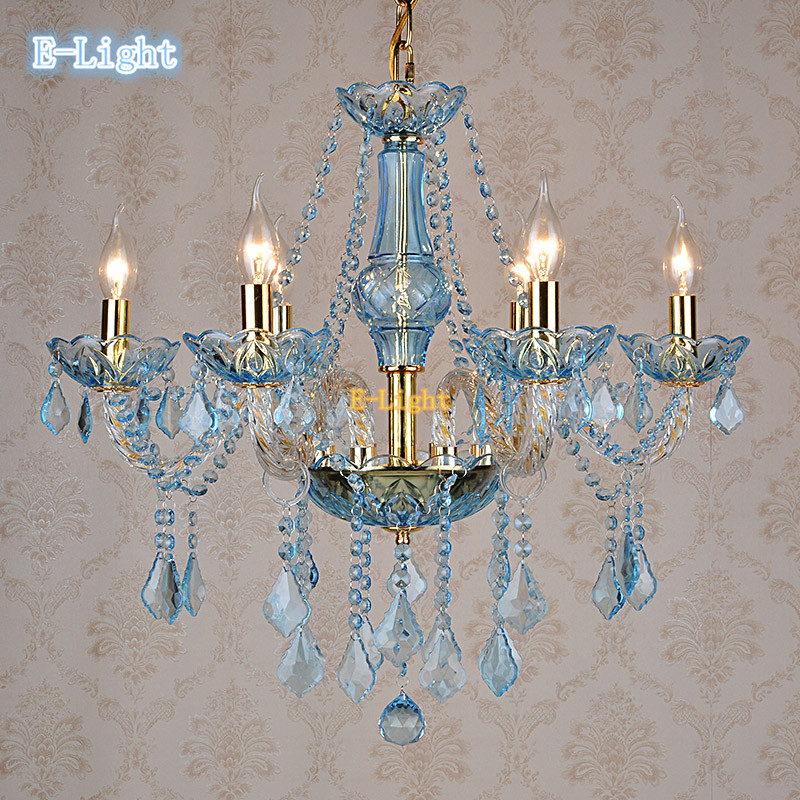White gold blue amber crystal chandelier light led e14 Crystal candle chandelier