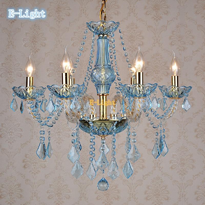 White Gold Blue Amber Crystal Chandelier Light Led E14