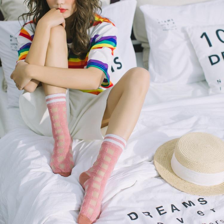 Women Socks 1 Pair 2019 Spring Summer New Color Plaid Women Fashion Long Socks For Women Breathable Transparent Korea Style