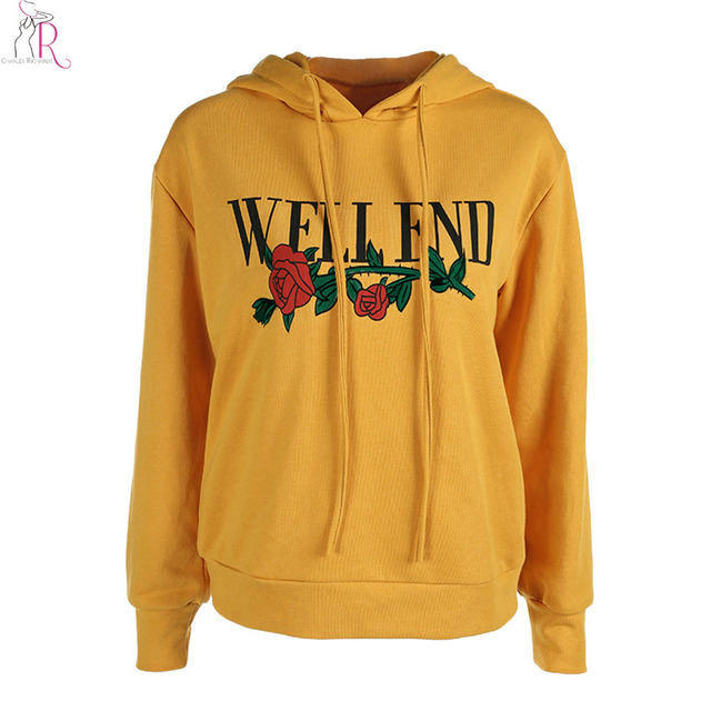f82039a5e99a6 Yellow Rose and Letter Print Drawstring Hoodie Sweatshirt Women Long Sleeve  Drop Shoulder Casual Loose Thick