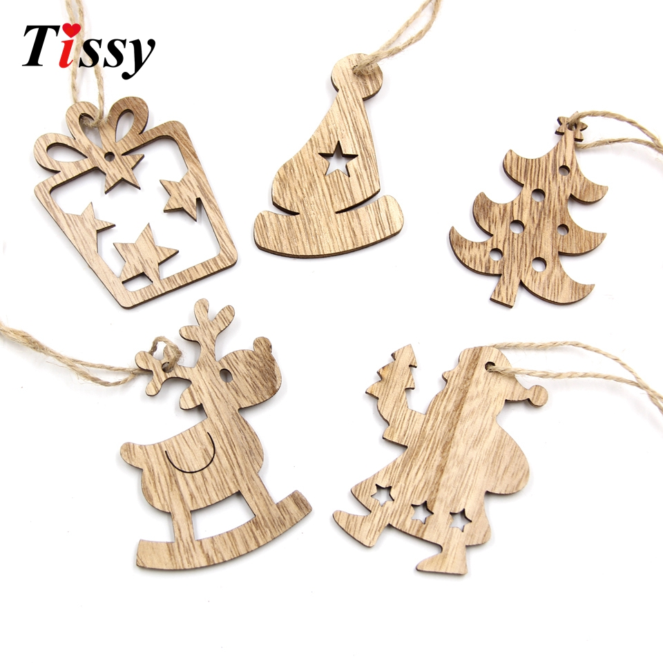 16PCS DIY Christmas Wooden Pendant Star&Deer&Tree Ornaments Xmas ...
