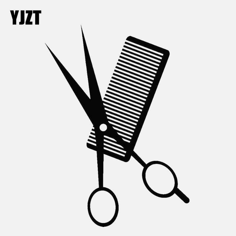 YJZT 11.6CM*16.2CM Interesting Comb Scissors Hair Salon Vinyl Black /Silver Car Sticker  C22-0024