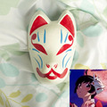 Full Face Hand-Painted Japanese Fox Mask Araragi Tsukihi Pattern Cosplay Masquerade for Party Carnival Halloween