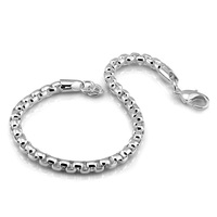 Male 100 925 Sterling Silver Bracelet Fashion Man Silver Jewelry Solid Silver Box Chain 5MM 18
