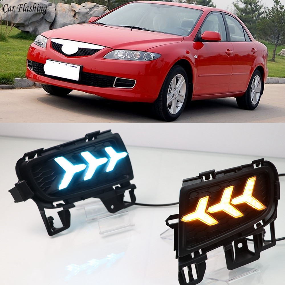 2pcs White Led Daytime Running Light Drl Fog Lamp For Mazda 6 2005 2008: 1Set LED DRL Daytime Running Light Daylight With Yellow Turn Signal And Blue Night Light For
