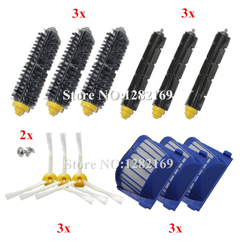 3x Filter,6x Bristle and Flexible Beater Brush,3x Side Brush 2x Srew replacement for iRobot Roomba 600 Series 620 630 650 660 bristle and flexible beater brush srew replacement for irobot roomba 600 700 series brush kit side 620 630 650 760 770 780 790