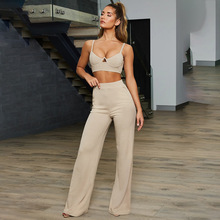 SKMY two piece club outfits women halter crop top and high waist wide leg pants summer streetwear fashion casual trousers sets
