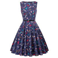 Women Vintage Floral Cotton Dress 2018 Summer Robe Rockabilly Clothing Retro 50s Casual Swing Tunic Plus Size Skater Dresses
