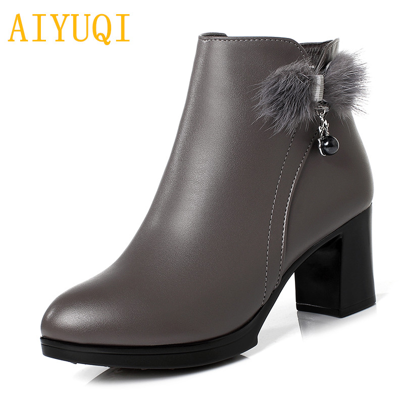 AIYUQI Womens boots winter 2018 new genuine leather women snow boots,size 41 42 43 thick wool women Martin boots party shoes aiyuqi spring new genuine leather women shoes rhinestone breathable plus size 41 42 43 comfortable light mother shoes women