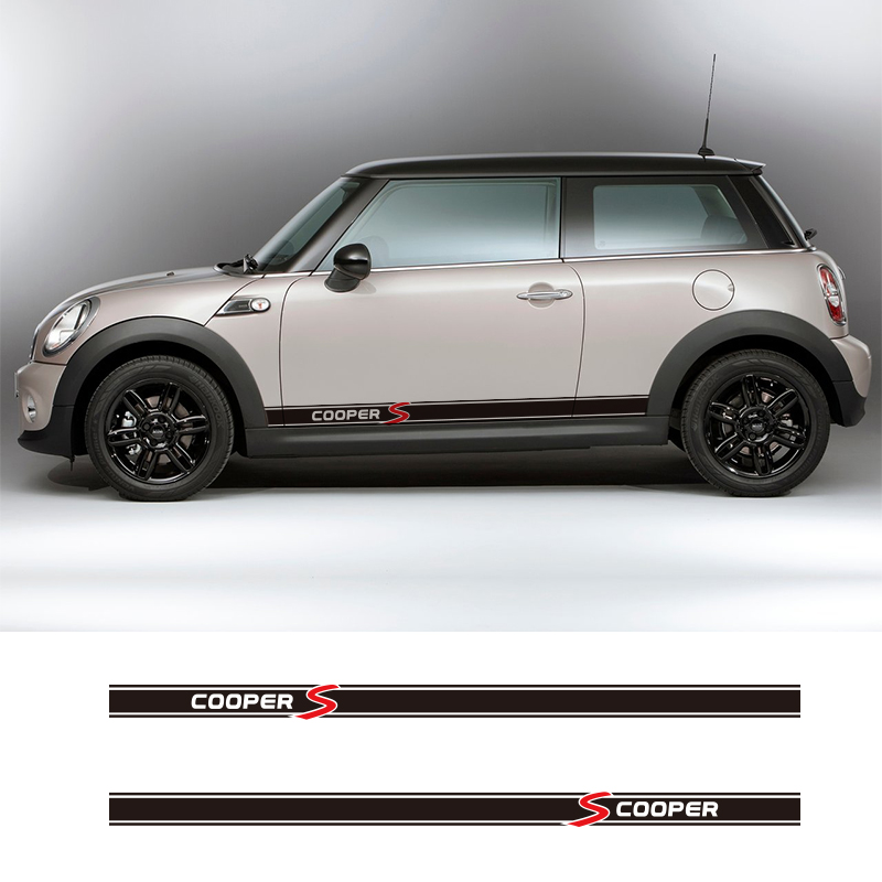 1 Pair 2 Pieces Vinyl Car Sides Skirt Car Sticker Wraps Decals For BMW Mini Cooper S Countryman Seven Clubman John Paceman