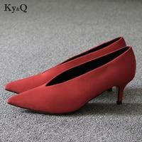 2018 Pop Star Pointed Toe Girl Thin Heel Woman Shoes Deep V Design Lady Fashion Shoes Elegant European Women Shoes
