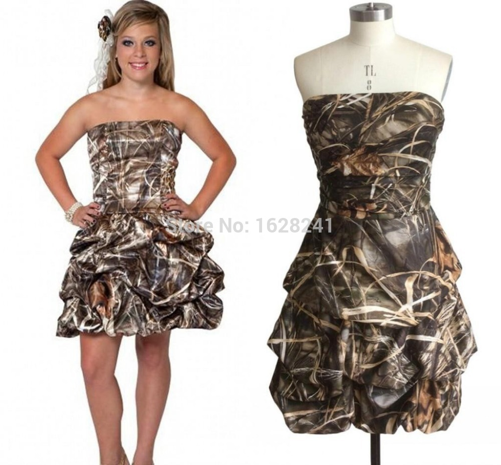 Buy 2016 short camo wedding dress for Wedding dresses camouflage pink