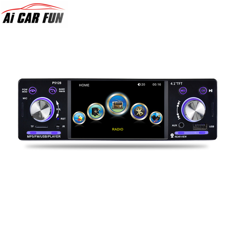 4.1 Inch 1 Din HD Car Stereo Radio Bluetooth MP3 MP5 Player Support USB / FM / TF / AUX with Steering Wheel Remote Control 12v 4 1 inch hd bluetooth car fm radio stereo mp3 mp5 lcd player steering wheel remote support usb tf card reader hands free