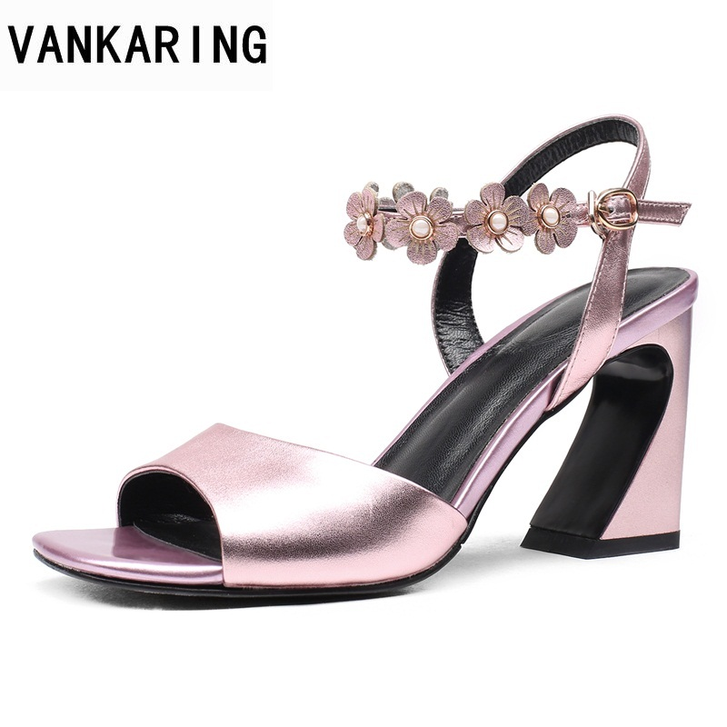 VANKARING new fashion hot sale 2018 summer super high heels women sandals genuine leather open toe wedding party dress shoes vankaring new sandals shoes women cruare strange style low heel open toe summer woman black dress party casual sandals slipper