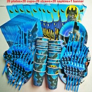 Image 1 - 81個20人ハッピーバースデー子供バットマンベビーシャワーパーティーの装飾セットバナーテーブルクロスストローカッププレートサプライヤー