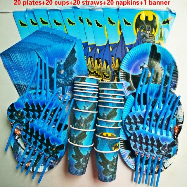 81個20人ハッピーバースデー子供バットマンベビーシャワーパーティーの装飾セットバナーテーブルクロスストローカッププレートサプライヤー