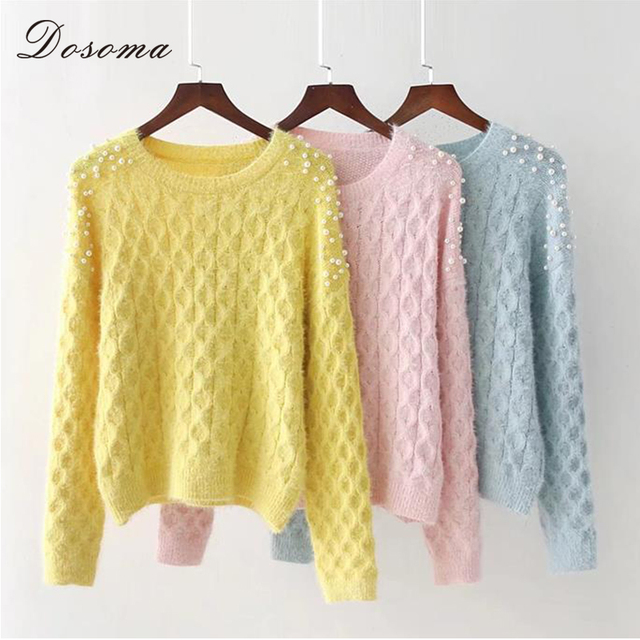 Crystal Pearls Mohair Sweaters Female Pullover Ribbed Thin Sweater ...