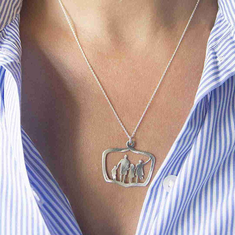 US $1 64 30% OFF|Family Love Mom Dad Son Daughter Necklaces Gifts Silver  Pendants Boys Girls Mothers Fathers Short Necklace For Children Kids-in